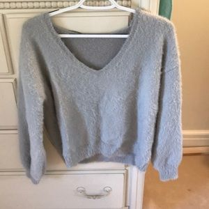 Sweaters - NWOT Cropped super soft grey fuzzy v-neck sweater